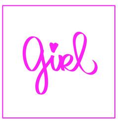 girl word little pink heart woman feminism sign vector image