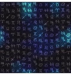 Glow zodiac symbols on navy blue blur background vector