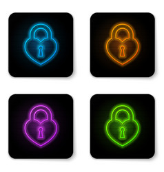 glowing neon castle in shape a heart icon vector image