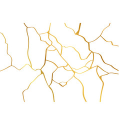 gold kintsugi design isolated on white backdrop vector image
