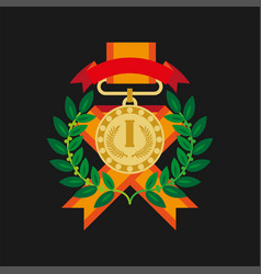 Golden medal for first place with laurel wreath vector