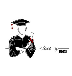 graduating student with cap black gown holding vector image