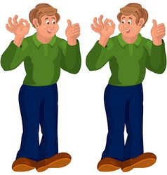 Happy cartoon man standing in green top thumbs up vector