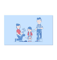 happy family gardening gardening together vector image