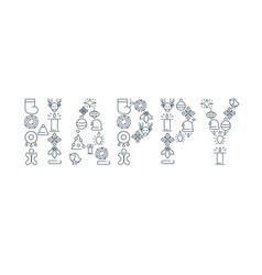Happy new year lined icons set vector
