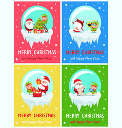 Happy new year merry christmas poster santa elf vector