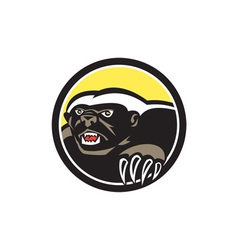 Honey Badger Claws Side Circle Retro vector image