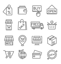 Internet shopping free delivery thin line icons vector