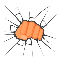 Kicking fist is breaking the glass is symbol vector