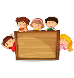kids on wooden board vector image