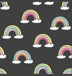 kids seamless pattern with colorful rainbows vector image