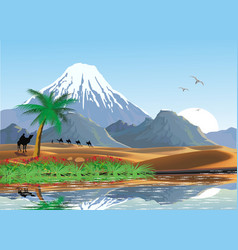 landscape - mountains and oasis in the desert a vector image