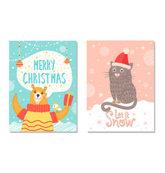 Let it snow poster with bear gift box cat in hat vector