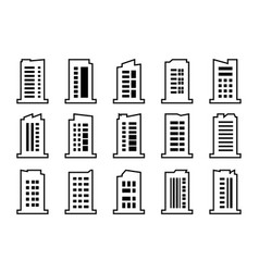 line company icons set black building collection vector image