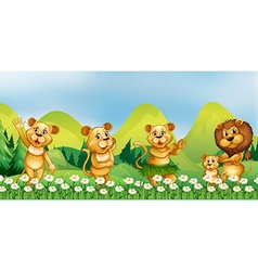 Lion family in the flower field vector
