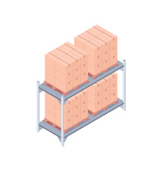 Loaded pallet rack isometric vector
