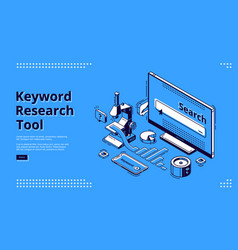 long tail keyword isometric landing page banner vector image
