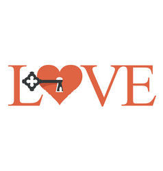 love lettering with a key in heart vector image