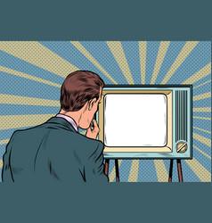 male viewer watching tv television propaganda vector image