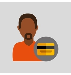 Man african credit card icon design graphic vector
