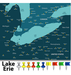 Map of lake erie vector