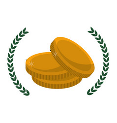Metal gold coins money with branches decoration vector