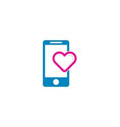 mobile love logo icon design vector image
