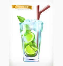 Mojito summer cocktail 3d icon vector