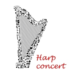 Musical poster design with harp and notes vector image