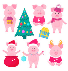 new year s set of cute pigs santa claus costume vector image