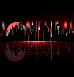 night city skyline futuristic synth retro vector image