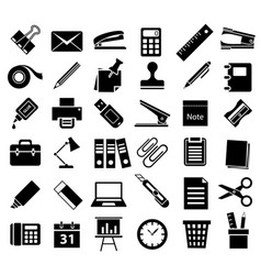 Office accessory icon set vector