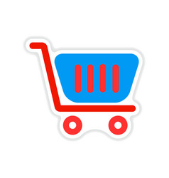 paper sticker on white background market cart vector image