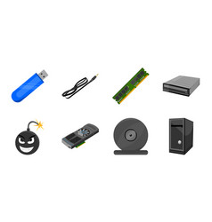 Personal computer icons in set collection for vector