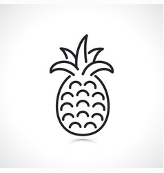 pineapple fruit thin line icon vector image