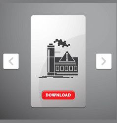 Pollution factory air alert industry glyph icon vector