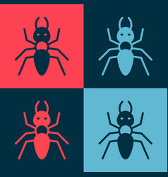 Pop art ant icon isolated on color background vector