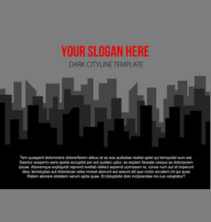 Poster template with dark city skyline vector