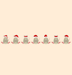 rats santa claus in hats funny christmas vector image