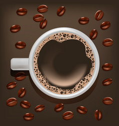realistic detailed coffee cup on a beans vector image