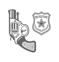 revolver and detective badge vector image