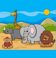 safari animals cartoon characters group vector image