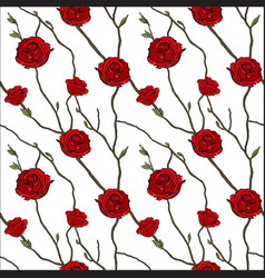 seamless pattern twigs and red roses vector image