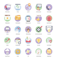 Seo flat icons pack vector