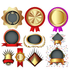 set colorful holiday medals labels seals with vector image