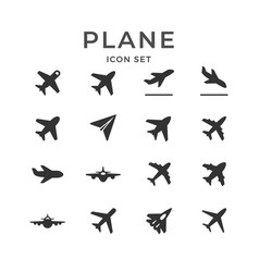 set glyph icons plane vector image