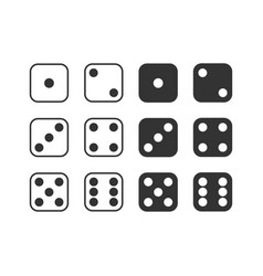 set monochrome dices isolated dice vector image