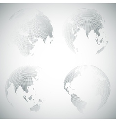 Set of dotted world globes light design vector image