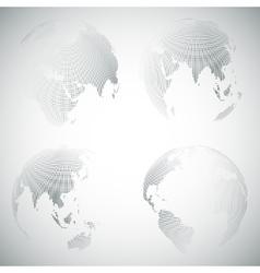 Set of dotted world globes light design vector