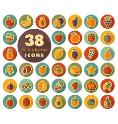 set of fruits and berries flat icons vector image